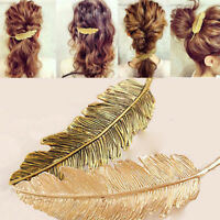 KE_ Women's Vintage Etched Leaf Feather Hair Clip Hairpin Hair Barrette Newly