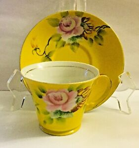 VINTAGE * MADE IN JAPAN * HAND PAINTED BRIGHT YELLOW TEA CUP & SAUCER