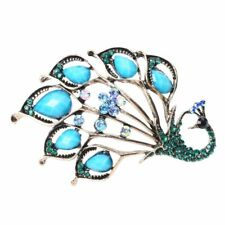 Vintage Style Amazing Turquoise And Blue Rhinestones Peacock Brooch Pin X4Z I5D5