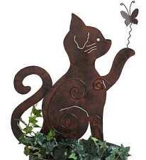 Beetstecker Gartenstecker Katze mit Schmetterling (92373) Metall NEU Gartendeko