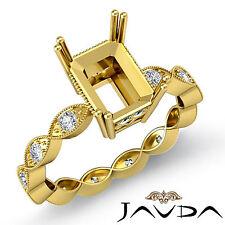 Diamond Engagement Miligrain Javda Ring 14k Y Gold Radiant Semi Mount F 0.2Ct