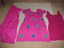 RANI PINK Silver SILK DAZZLING Salwar Kameez SUIT Sari 3PC Punjabi Dress OUTFIT