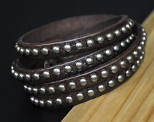 P03 Men's Double Band Studded Cool Leather Wristband Bracelet Coffee Brown