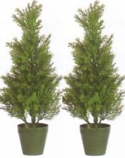 2 Outdoor 2' Artificial Cedar Topiary Trees Potted UV Rated Cypress 5 4 3 Pine