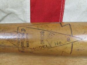 "Vintage 1930s AJ Brecher Wood Baseball Bat No.8 Professional 35"" Powell,PA. Rare"