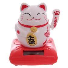 WHITE sventolando Cinese Giapponese Sunrise attirando Lucky Cat Energia Solare PAL