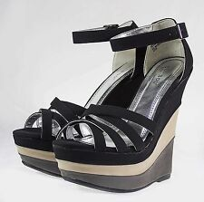 "SKYLINE-05 Fashion 6 inch High Heel 2"" Platform Women Party Shoes Black 6"