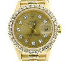 Ladies Rolex 18K Gold Datejust President Watch Diamond Band Bezel Dial Quickset