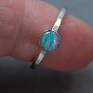 Solid Sterling Silver Australian Crystal Opal Inlay Stacker Ring ( Watch Video )
