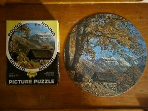 """VINTAGE  TUCO 15"""" Round Picture Jigsaw Puzzle Cabin in the Alps 300+ complete"""
