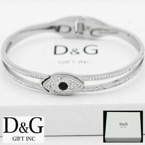 """DG Women's 6.5"""" Silver Stainless Steel Evil eye CZ Eternity Bangle Bracelet*Box"""