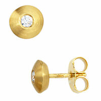 Ohrstecker Stecker Diamant Brillanten, 6.5mm, 585 Gelbgold, mattiert, Damen