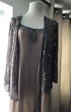 BNWT Shell Coloured 100% Silk Maxi Dress With Heavily Beaded Jacket By SCALA XXL