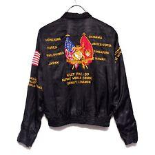 Navy Cruise Satin Souvenir Jacket 1980's West Pac Military Vintage Sukajan