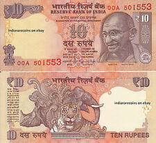 INDIA 10 RS 00A First Prefix No Inset 2016 Novel Number Paper Money Note UNC NEW