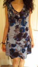 Blue Floral Tie Dye Party Dress👗VINTAGE🌃FESTIVAL👗BOHO🌃RUFFLE👗WEDDING Size12