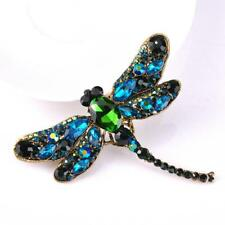 New Dragonfly Crystal Brooch Rhinestone Scarf Pins Party Vintage Gift UK Seller