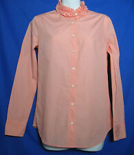 J.Crew Size XS Fresh Guava Shirt Top Ruffle Button Down Front
