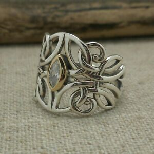 Sterling Silver & 10K Celtic Guardian Angel Ring CZ KEITH JACK Boxed size 7.5
