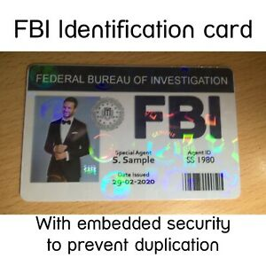 FBI Photo ID Card with Your Name and Photo | Childs Play ID | Stage Prop |