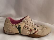 Michelle K Sports Womens 8 Med Walking Shoes Suede Leather Sneakers Beige Floral