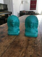 Vintage Cast Iron Native American Indian Chief Bookends Painted Turquoise