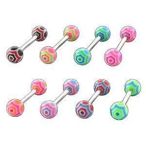 Zungenpiercing 8 Neon Farben 1Stk oder Set (8Stk) Piercing Zunge NEU