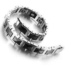 "Tungsten Mens Ladies Bracelet, Bangle,  Black and Silver Colour, 7.9"" KB900"