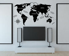 Wall Vinyl Decal World Map Inscriptions Continent Compass Home Decor z4793