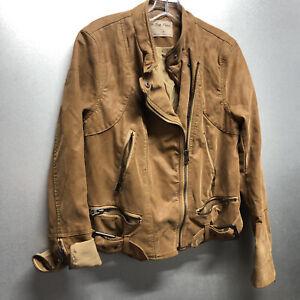 we the free jacket medium faux leather brown womens zippers biker free people !