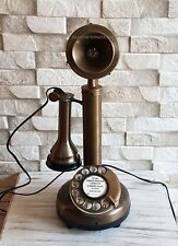 ANTIQUE LOOK FULL BRASS CANDLESTICK ROTARY DIAL TELEPHONE FREE SHIPPING .