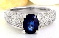 3.22 Carat Natural Sapphire 14K Solid White Gold Diamond Ring