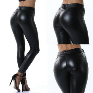Femme Leggings Pantalon Effet Cuir Mouillé Look Vita Haute Slim