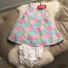 NWT GYMBOREE BABY GIRLS DRESS AND PANTIES SZ 12-18 MOS PINK BLUE GREEN