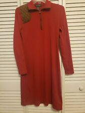 Lauren Ralph Lauren Red Cotton Dress With Faux Suede Shoulder Patch Sz M 1/4 zip
