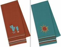 DII Design Import Set 2 SOUTHWESTERN Dish Towels Cactus Sun Embellished