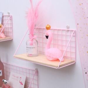 Metal Wooden Floating Shelves Display Wall Mount Shelf Rack Home Room Decor Pink