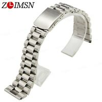 Pure Solid Stainless Steel Curved End Watch Band Bracelet Link Strap 16 18 20mm