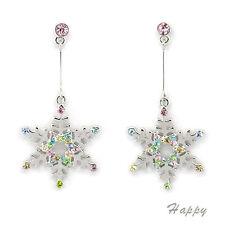 Snowflake Winter Holiday Christmas Wedding Dangle Earring Crystal Multicolor New