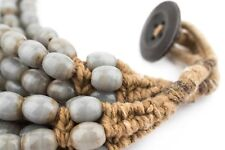 Grey Naga Bead Necklace 7mm Nepal Oval Glass 25 Inch Strand