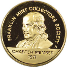 New Listing1971 Franklin Mint Collectors Society Charter Member Medal Gold Plated Gem Proof