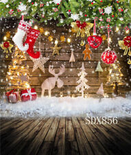 US 5X7FT Christmas Decor Backdrop Rustic Wood Board Background Photography Props