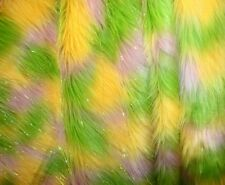 "Fabric Faux Fur Fake Long Pile 60"" 3 Tone sparkle Tinsel lime pink yellow bty"
