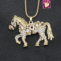 Betsey Johnson Crystal War Horse Pony Pendant Sweater Chain Animal Necklace
