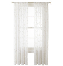 "JCPenney Home Harmon Sheer Rod-Pocket Single Curtain Panel 50 X 63""L Cool White"