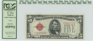 1928F $5 Legal Tender FR#1531 PCGS 65 Gem PPQ Wide I