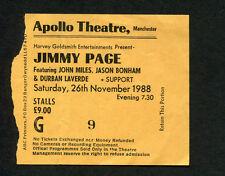 1988 Jimmy Page Jason Bonham Concert Ticket Stub Manchester Uk Outrider