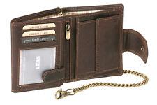 Bikerbörse Geldbörse mit Kette Außenverschluss LEAS MCL Vintage Echt-Leder braun