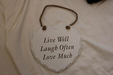 "WOODEN HEART WITH WORDS""LIVE WELL LAUGH OFTEN LOVE MUCH"