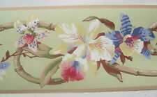 """TROPICAL FLOWERS ORCHIDS Wallpaper Border  6 7/8"""""""
